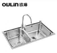 欧琳水槽83460厨房洗菜盆 304不锈钢水槽加厚双槽套餐 含龙头