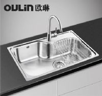 欧琳大单槽OLWG7549OL-8006水槽套餐含龙头沥水篮