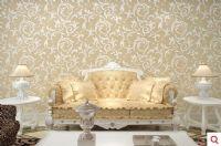 欧洛堡浅棕色底银色墙纸 莨苕叶墙纸 无纺布壁纸