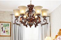 赛朵欧式新古典 6头吊灯 树脂雕花 尊贵大气 卧室大厅餐厅书房